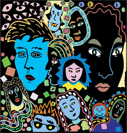 Women Faces:  vector illustration