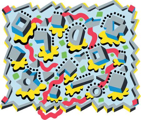 Mechanical Clouds:  vector illustration