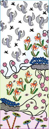 Rising Birds  - Pattern - Vector Drawing Illustration