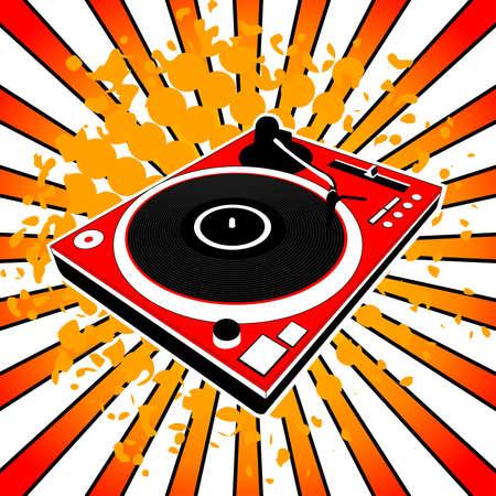 discjockey: Illustration of red Dj turntable Illustration