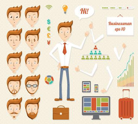 set of businessman: Illustration of cartoon manager Illustration
