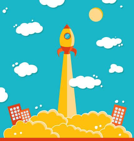 firing: Illustration of vector rocket Illustration