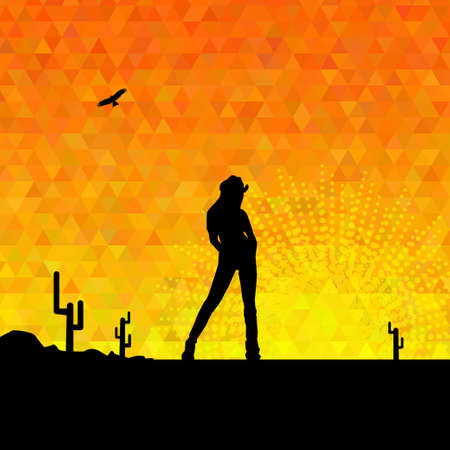 girl shadow: illustration of cowgirl silhouette