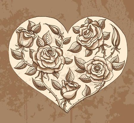 halm: Illustration of roses heart Illustration