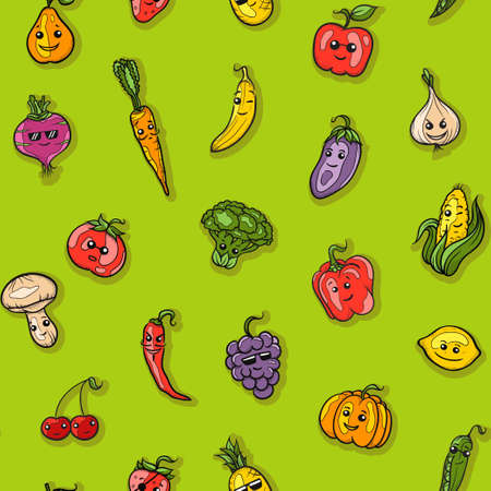 Illustration of fruits and vegetables pattern Vector