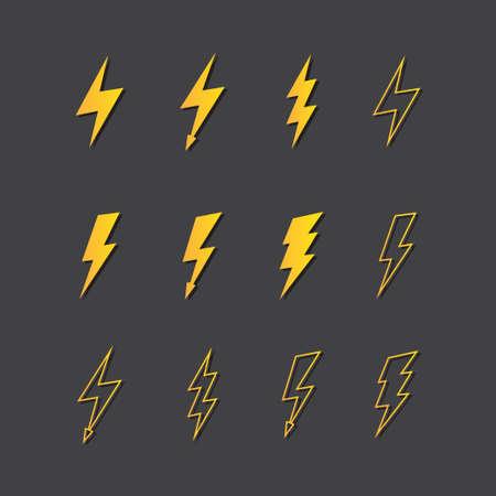 lightning arrow: Illustration of vector lightning icon set