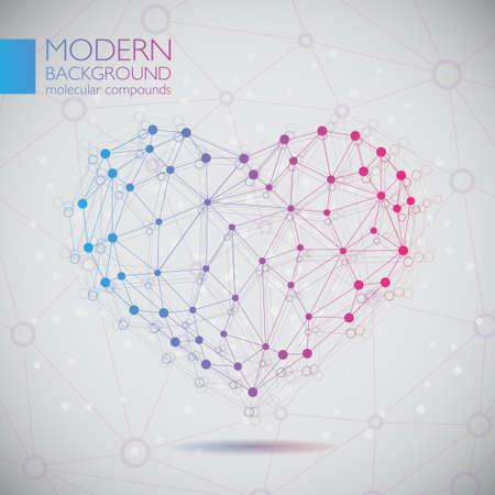 vector  molecular: Illustration of modern vector molecular heart Illustration