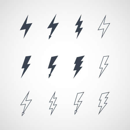 Illustration of lightning icon set Stock Illustratie