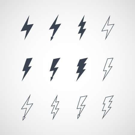 Illustration of lightning icon set Vectores