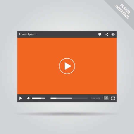 Modern isolated vector flat video player interface