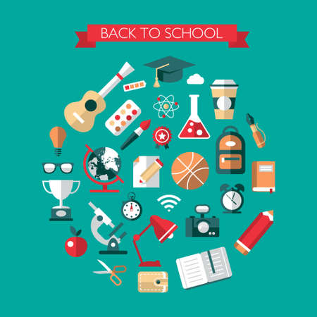 back icon: Illustration of modern vector school flat design composition