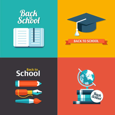 pencil symbol: Vector school flat design modern flyers templates Illustration