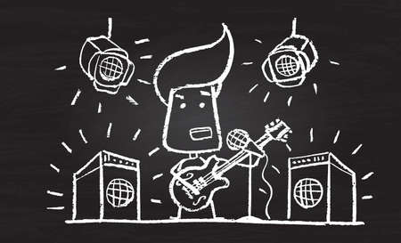 Illustration of chalked character with guitar on blackboard Vector