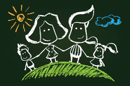 farther: Illustration of chalked happy family on blackboard
