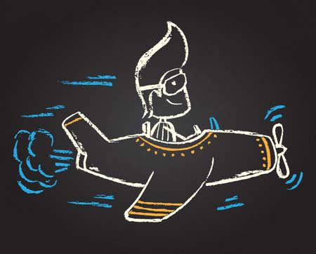 fearless: Illustration of funny chalked character on blackboard Illustration