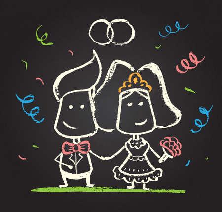 farther: Illustration of chalked happy engaged couple on blackboard Illustration
