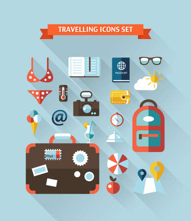 Illustration of travel flat design composition with long shadows Vector