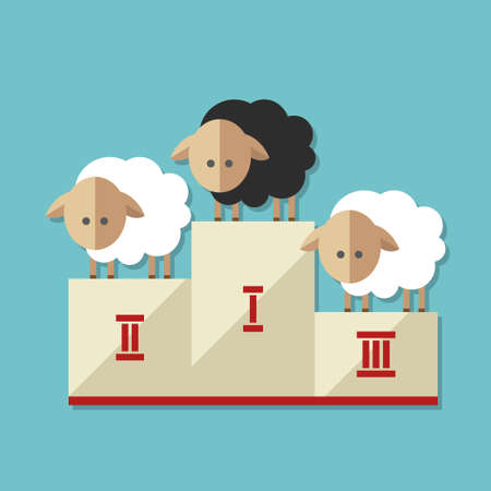 Modern flat design conceptual illustration with sheep Vector