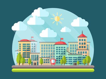 facade building: Illustration of flat design urban landscape