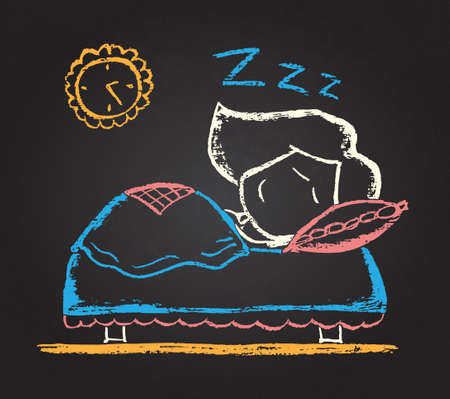 Illustration of vector  chalked character sleeping on the bed  Vector