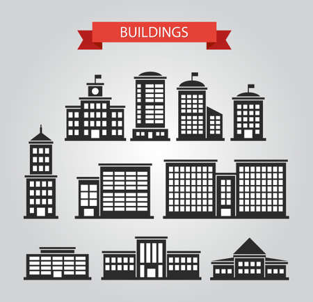 Set of vector flat design buildings pictograms Vector