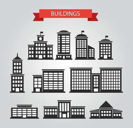 Set of vector flat design buildings pictograms Vector