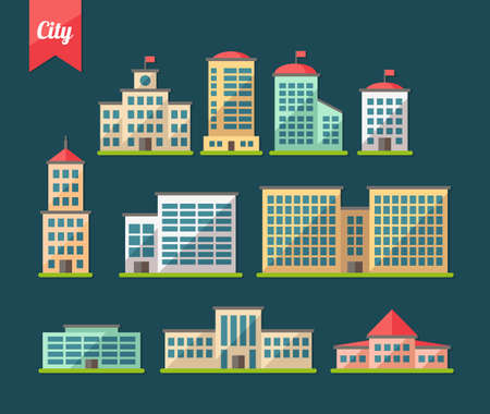 Set of vector flat design buildings icons Çizim