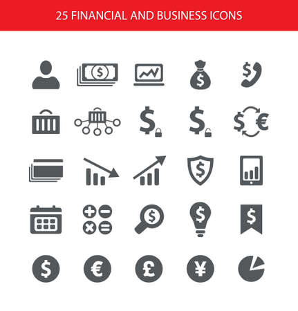 Set of vector flat design financial and business icons Illustration