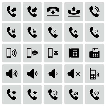 speaker icon: Set of vector flat design telephone icons