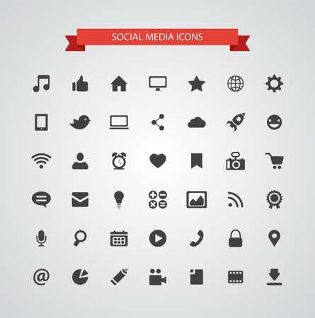 Set of vector modern flat design social media icons