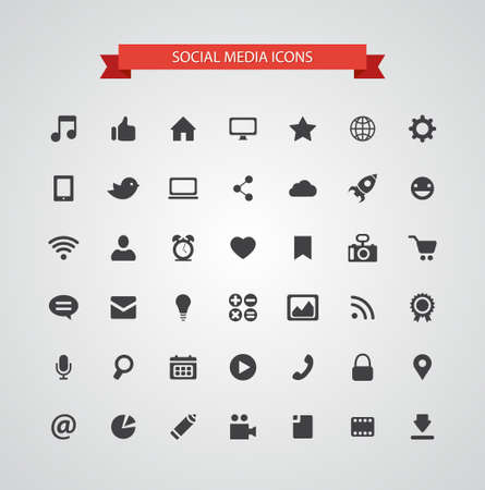 Set van vector moderne platte ontwerp sociale media iconen Stock Illustratie