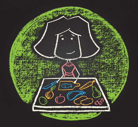 Illustration of vector  chalked character with food Vector