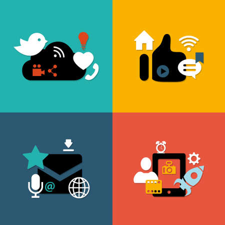 Set of vector modern flat design social media compositions Vector