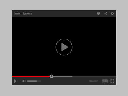 Modern vector flat design video player interface