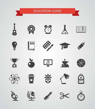 Set of vector flat design colledge icons Vector