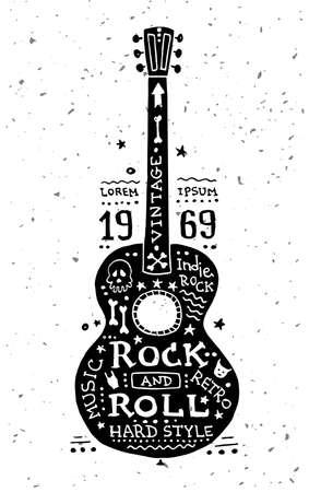 ギターを持つベクトル ヴィンテージ グランジ ラベルのイラスト  イラスト・ベクター素材
