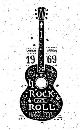Illustration of vector vintage grunge label with guitar Çizim