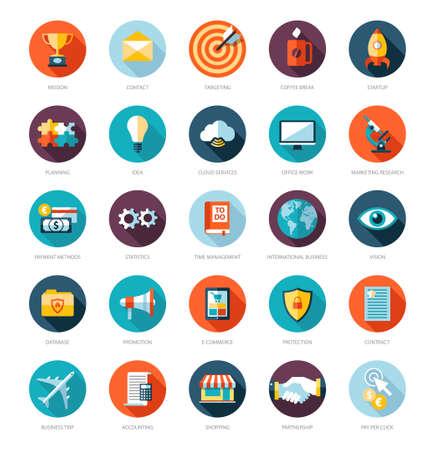 mision: Conjunto de moderno dise�o plano infograf�a vector de negocios iconos