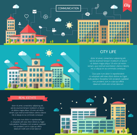 exterior element: Set of vector flat design buildings compositions Illustration