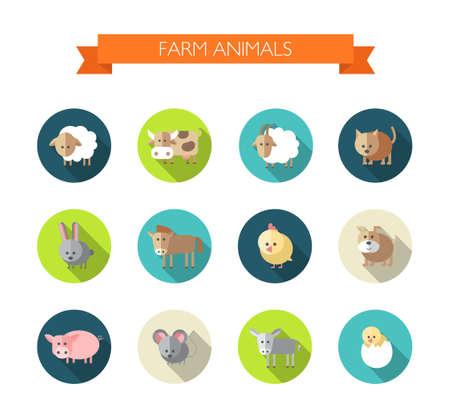 cabra: Conjunto de iconos del diseño planos con los animales de granja
