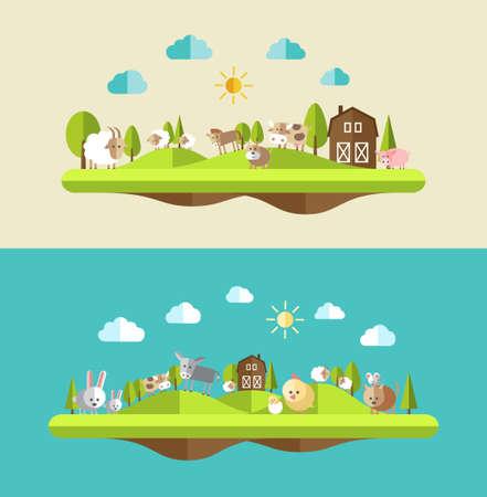granja caricatura: Conjunto de composiciones de diseño de planos con los animales de granja