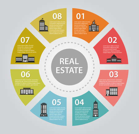 real people: Illustration of flat design infographics composition with real estate chart