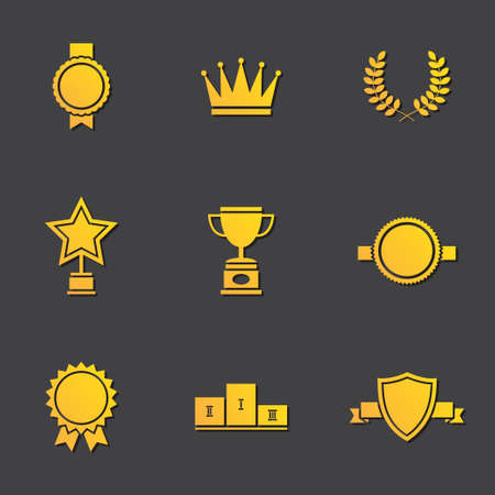 Illustration of modern flat design awards set Vector