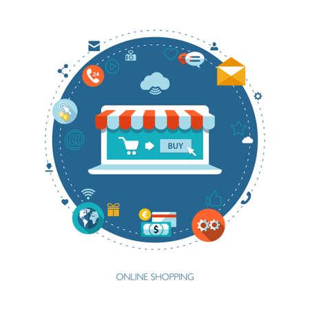 Ilustración de la composición negocio de diseño plano con tienda online
