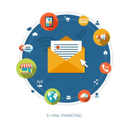 Illustration of flat design business marketing composition Banco de Imagens - 31867297