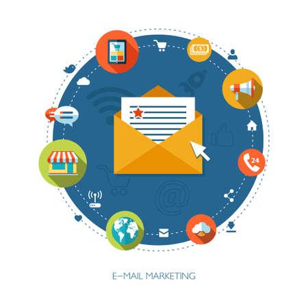 correo electronico: Ilustraci�n de dise�o plano composici�n marketing empresarial Vectores