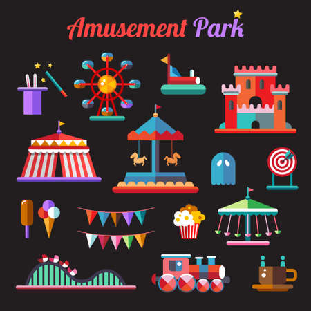 Set of vector flat design amusement park icons Illusztráció