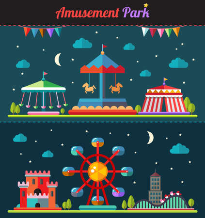 amusement park rides: Set of vector flat design composition with amusement park elements