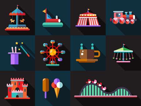 theme park: Set of vector flat design amusement park icons Illustration