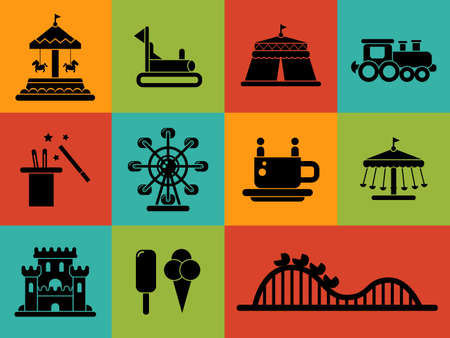 Set of vector flat design amusement park icons Çizim